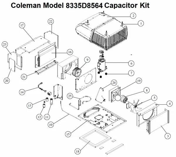 Coleman Air Conditioner Model 8335D8564 Capacitor Kit