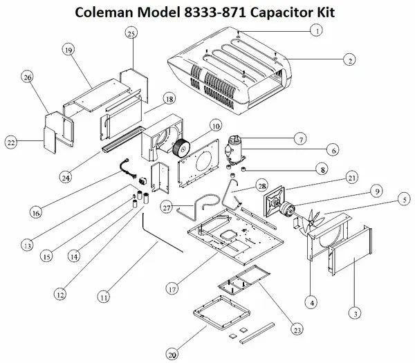 Coleman Air Conditioner Model 8333-871 Capacitor Kit