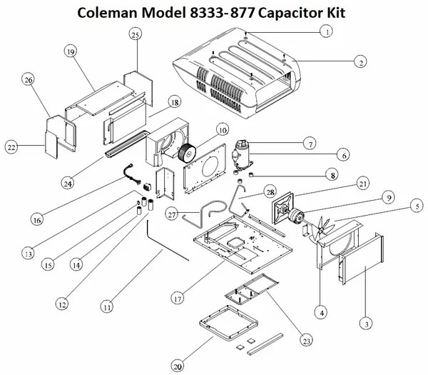 Coleman Air Conditioner Model 8333-877 Capacitor Kit