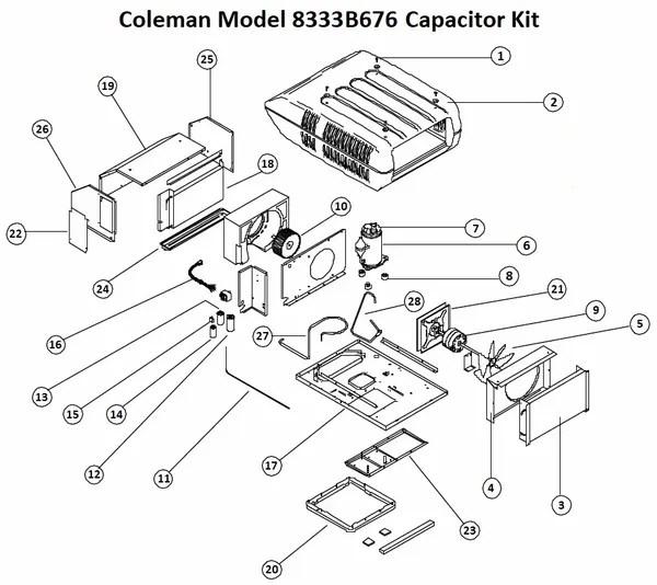 Coleman Air Conditioner Model 8333B676 Capacitor Kit