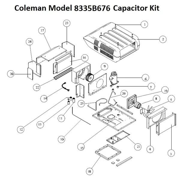 Coleman Air Conditioner Model 8335B676 Capacitor Kit