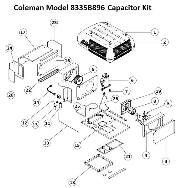 Coleman Air Conditioner Model 8335B896 Capacitor Kit
