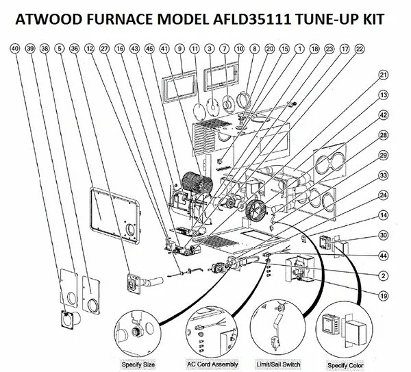 Atwood / Hydro Flame Furnace Model AFLD35111 Tune-Up Kit