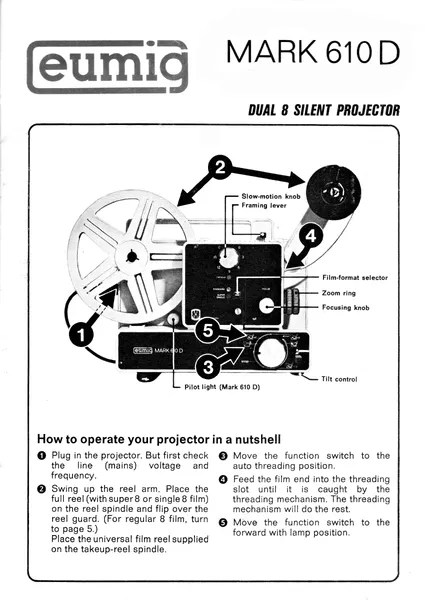 Instruction Manual: Eumig Mark S 610D Movie Projector