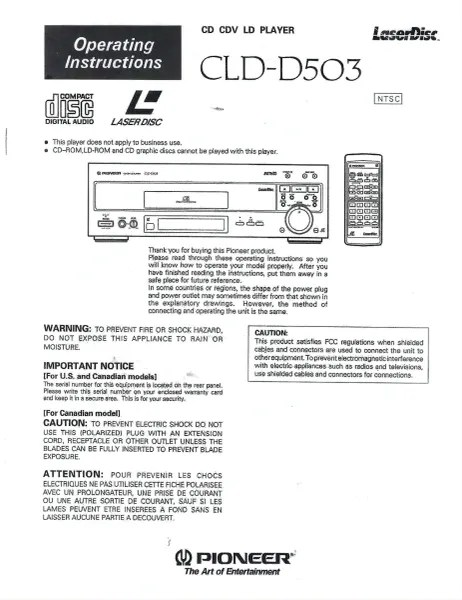 CLD-D503 (PIONEER LASERDISC PLAYER OPERATOR'S MANUAL