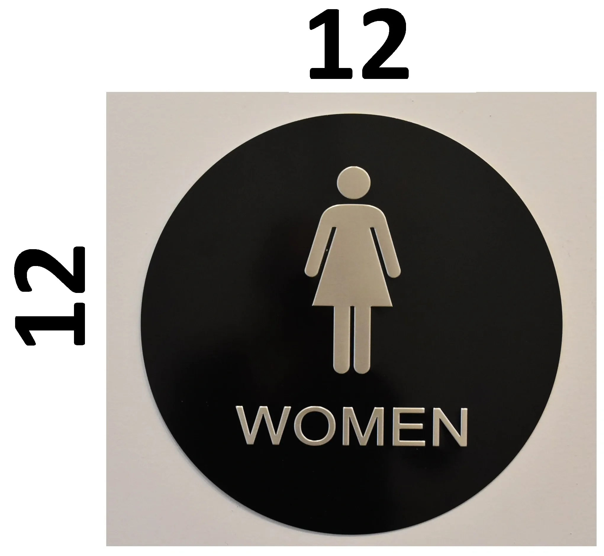 Sign For Bathroom Women Restroom Sign Black Aluminum Signs 12 Inch Diameter Circle