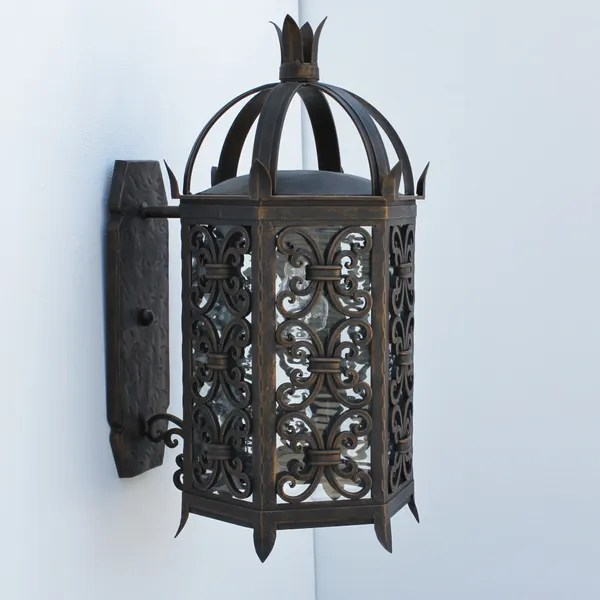 7050 1 spanish moroccan style wrought iron outdoor wall light
