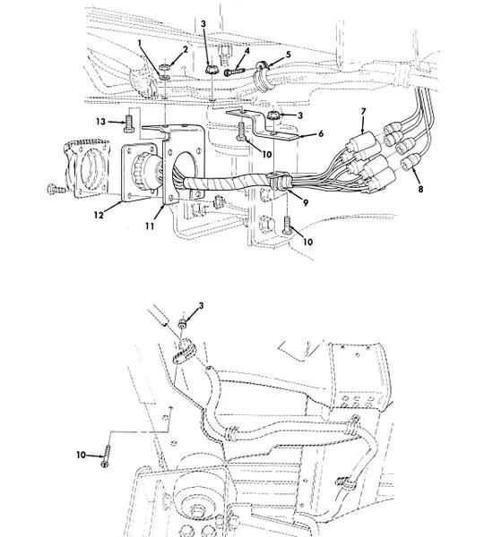 M998 TRAILER RECEPTACLE WIRING HARNESS BRACKET 12338696-1