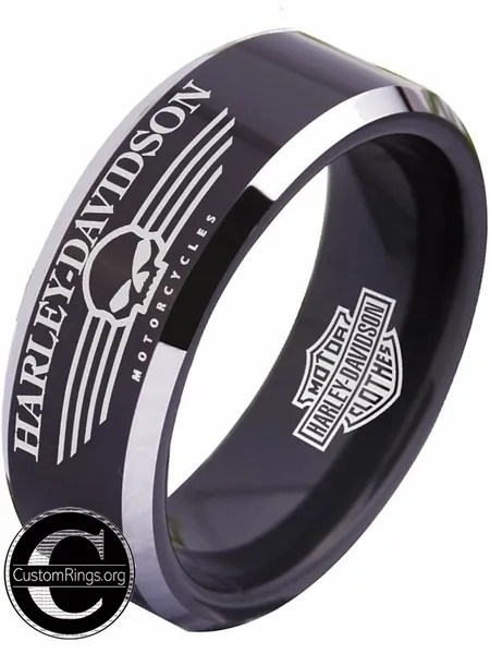 Harley Davidson Jewelry Rings : harley, davidson, jewelry, rings, Harley, Davidson, Men's, Black, Tungsten, Wedding, Harleydavidson