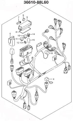 Suzuki Outboard Parts, Wiring Harness Assy. (36610-88L60