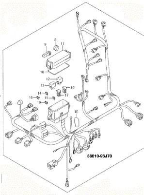 Suzuki Outboard Parts, Engine Wiring Harness (36610-96J70
