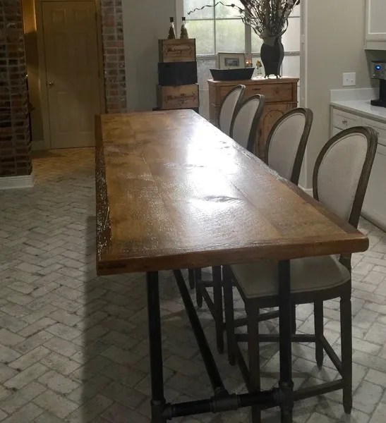 kitchen island counter lighting over table wood top with industrial pipe base