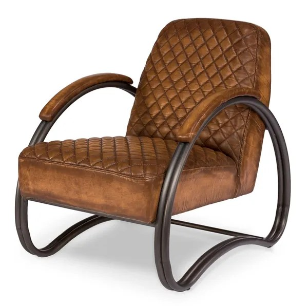 Quilted Leather Armchair In Tan Modern Martelle