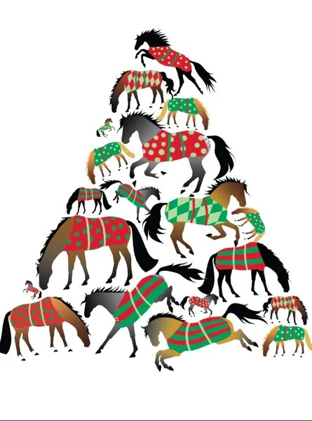 Christmas Card A Christmas Tree Of Blanketed Horses