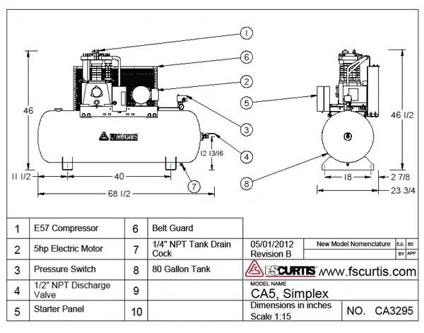 FS Curtis CA Series 005 HP Reciprocating Air Compressor