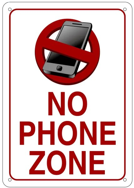 NO PHONE ZONE SIGN WHITE BACKGROUND ALUMINUM SIGN IDEAL