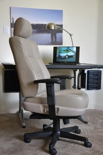 ivory leather office chair aeron herman miller review lexus es300 manager racing driver seat originals
