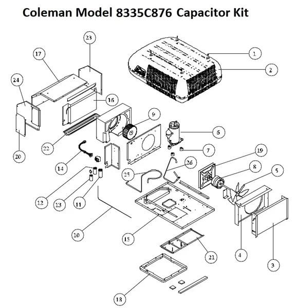 Coleman Air Conditioner Model 8335C876 Capacitor Kit