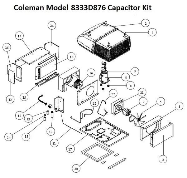 Coleman Air Conditioner Model 8333D876 Capacitor Kit