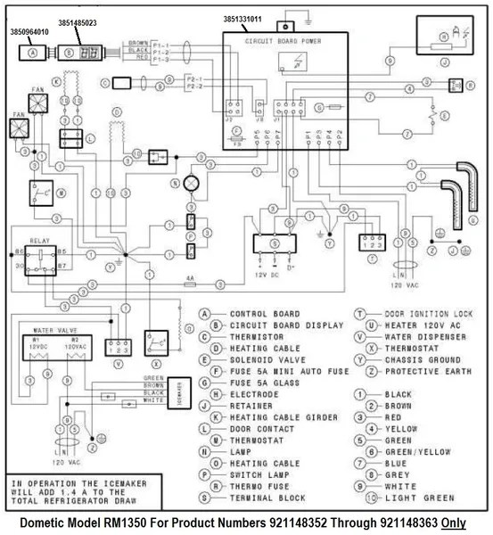 dometic rm1350 wiring diagram simple motorcycle indicator refrigerator printed circuit board 3851485023 pdxrvwholesale