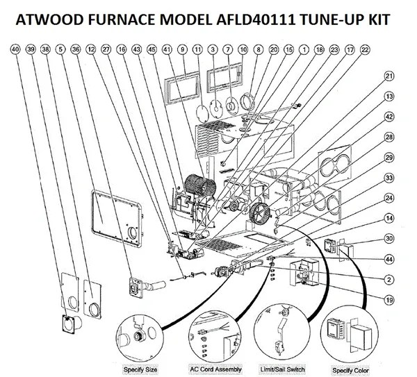 Atwood / Hydro Flame Furnace Model AFLD40111 Tune-Up Kit
