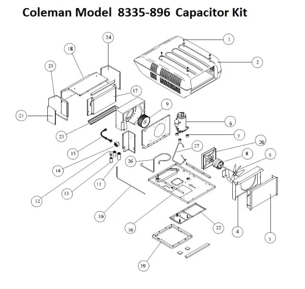 Coleman Air Conditioner Model 8335-896 Capacitor Kit