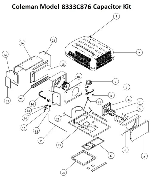 Coleman Air Conditioner Model 8333C876 Capacitor Kit