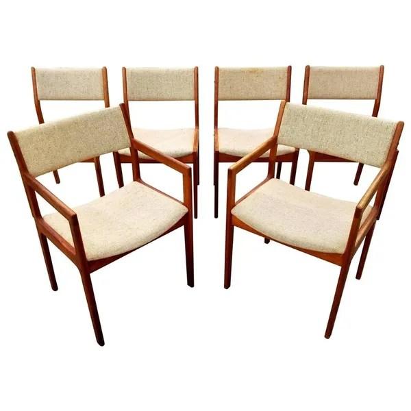 danish modern dining chair steel vintage teak chairs by d scan set 6 janakos company