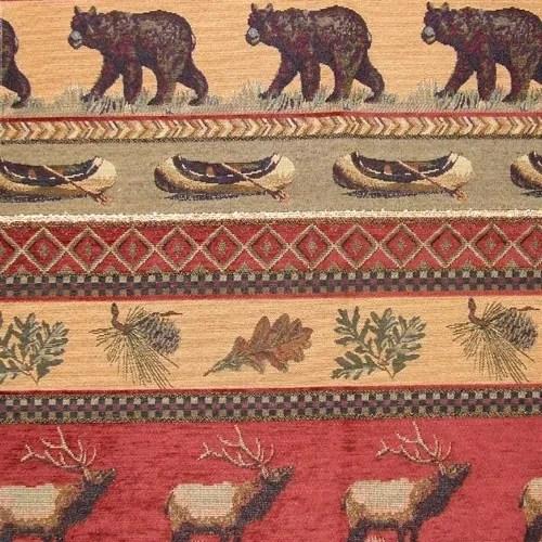 RH Frontier Upholstery Fabric elk bear canoe pinecone
