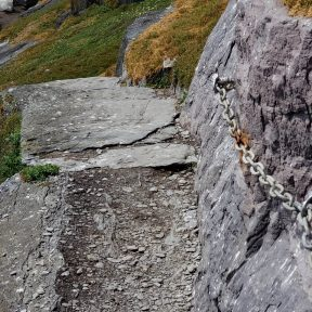 Missing Skellig Michael steps and a bolted chain