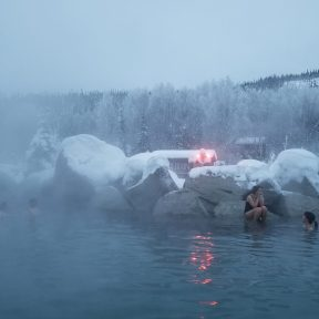 People cooling off on the rocks...it was below zero at Chena