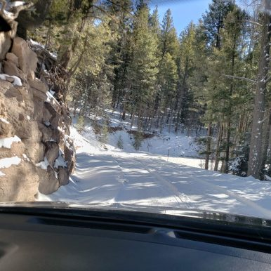Snowy Road to Tent Rocks NM