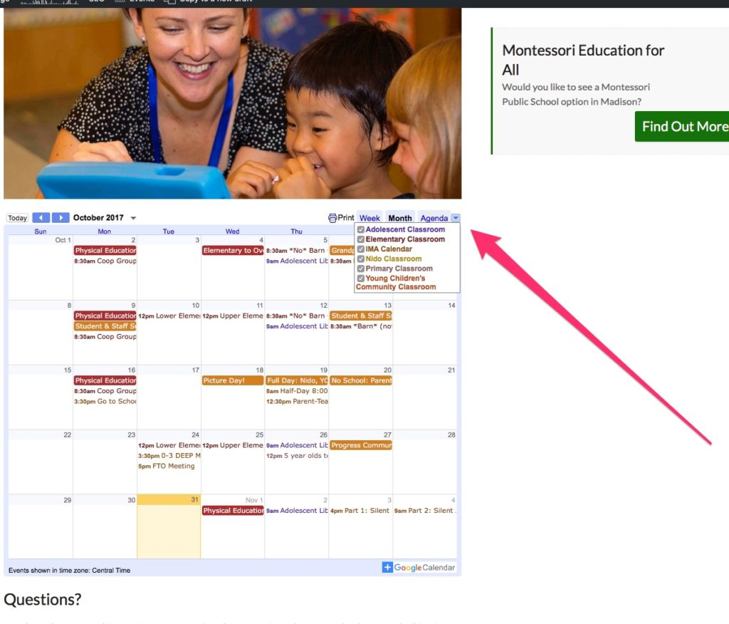 Simply Click On The Small Arrow To The Right Of Week / Month / Agenda And  Select/de-Select Which Calendars You Are Interested In.