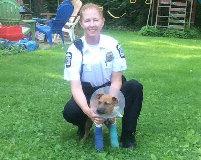 columbus police officer saves puppy from trash can