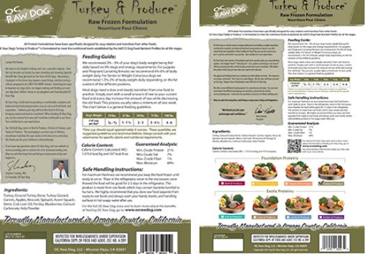 OC Raw dog food recall labels