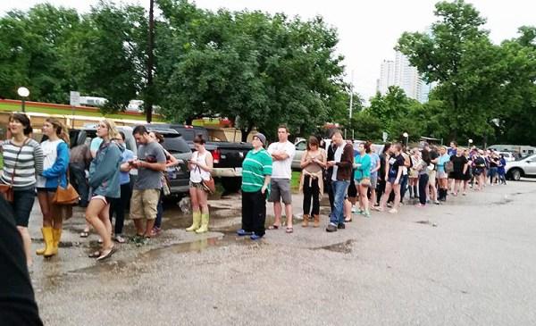 line to help Austin Pets Alive after flood