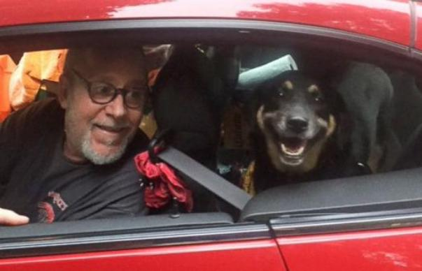 butterbean dog abandoned at gas station with new owner