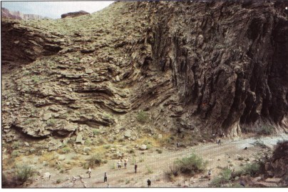 Изгиб, который произошел в районе Тапитс, в нижнем слое осадочных формаций Гранд-Каньона. Взято из «Гранд-Каньон: памятник катастрофе» Д-ра Стива Остина
