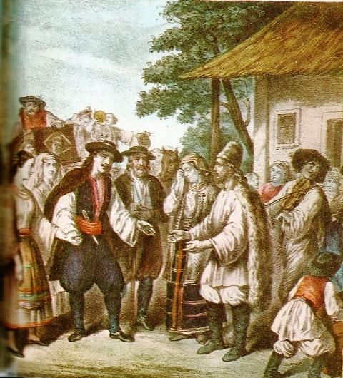 Nunta-in-Tara-Romaneasca-cromolitografie-de-Lanzedelly-inceputul-secolului-al-XIX-lea