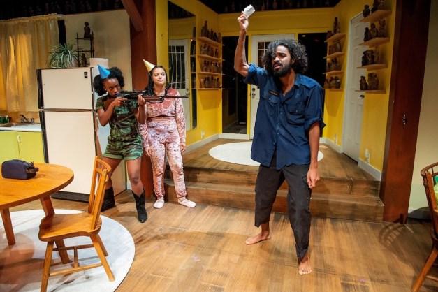 Natasha Mumba, Shakura Dickson, and Stephen Jackman-Torkoff in Trout Stanley. Photo by Joseph Michael Photography