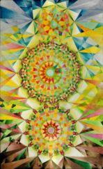 """""""Zahnräder der Zeit"""", Tafelmalerei auf Holz, 48x29cm, 2016"""