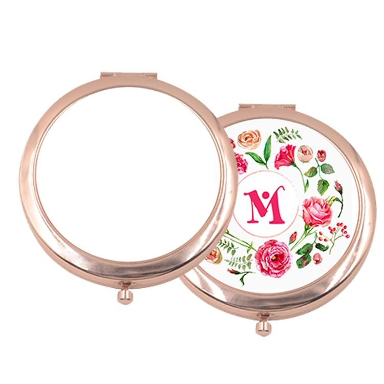 Rose Gold Round Compact Mirror