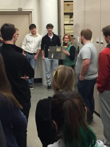 Becky Jordan giving tour of collection storage area for History class April 2016