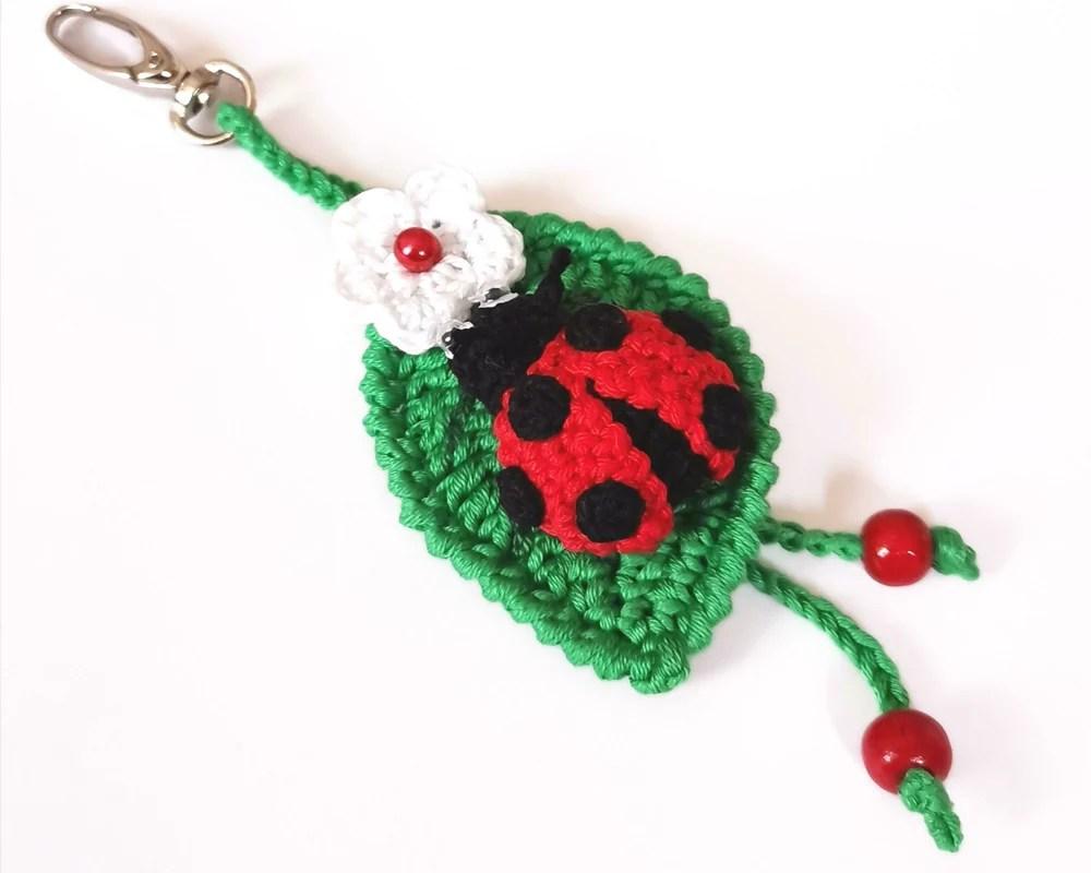 hight resolution of ladybug key chain ladybird keyring crochet bag charm ladybug pendant