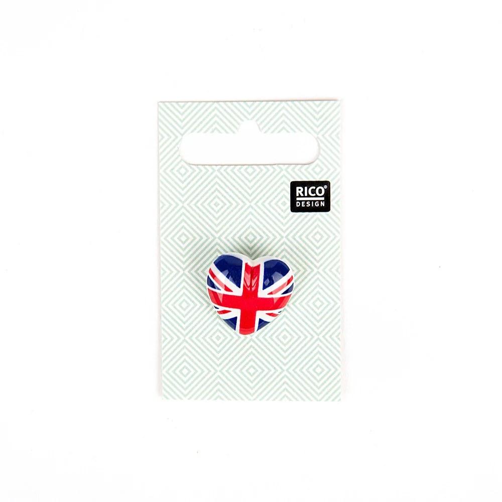 Rico Button Heart British Flag