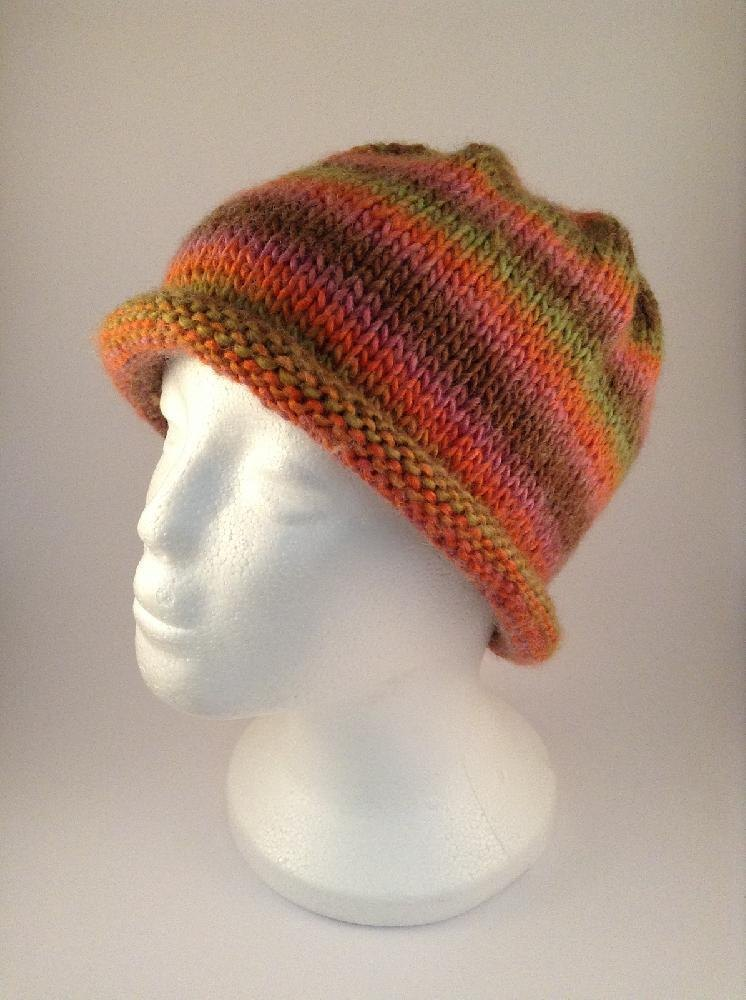 Easy Stripes Rolled Brim Beanie Hat Knitting pattern by