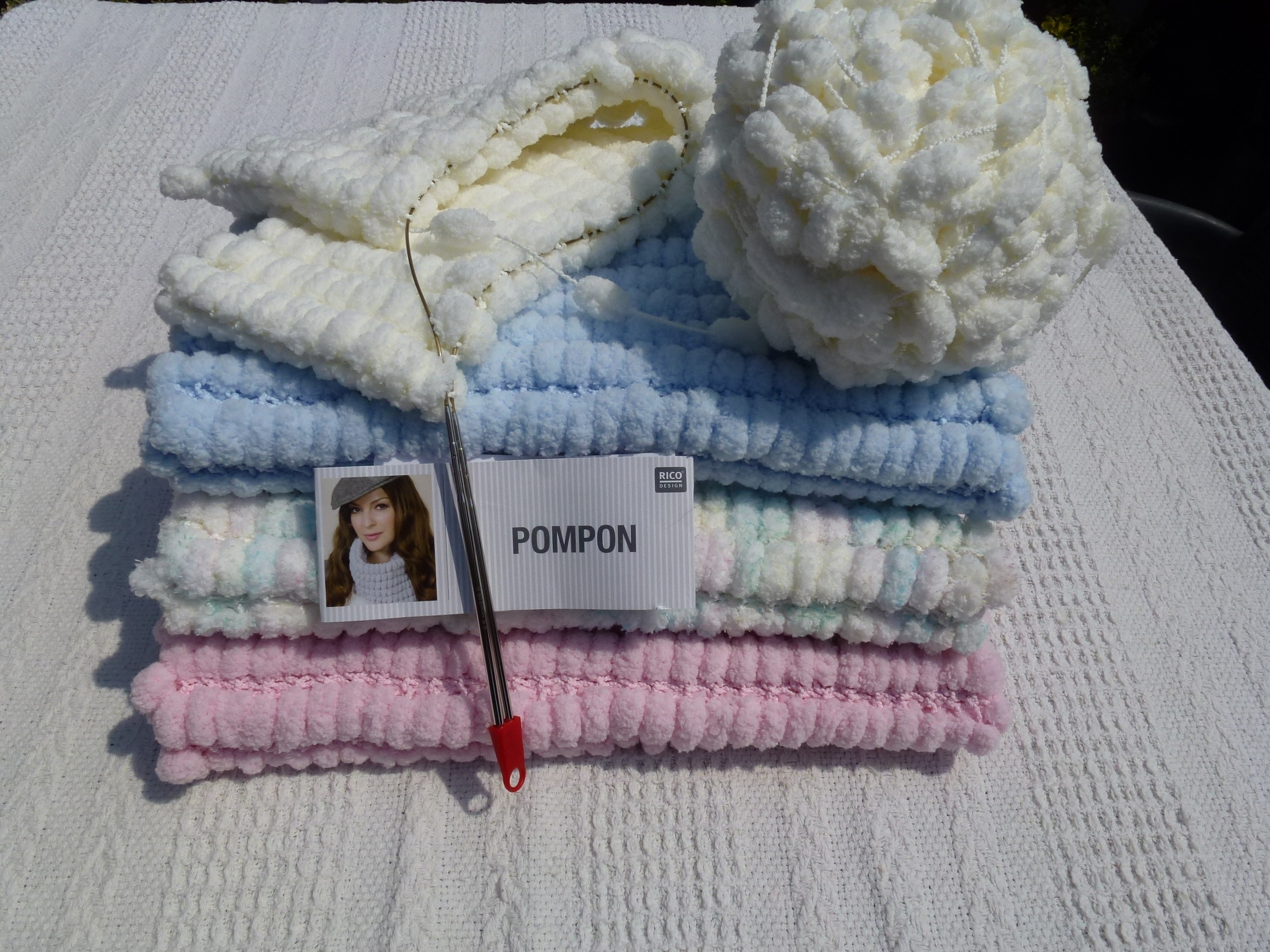 baby chair seat modern stackable chairs pompon yarn blanket for moses basket, pram or car knitting project by marilyn l ...