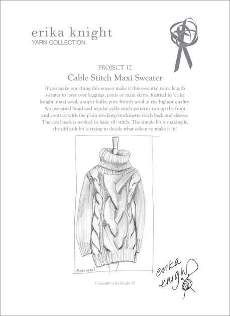 Cable Stitch Maxi Sweater in Erika Knight Maxi Wool