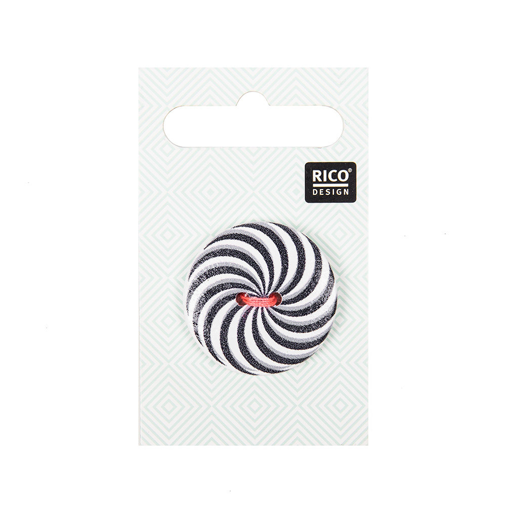 Rico Button With Color Spiral, Black