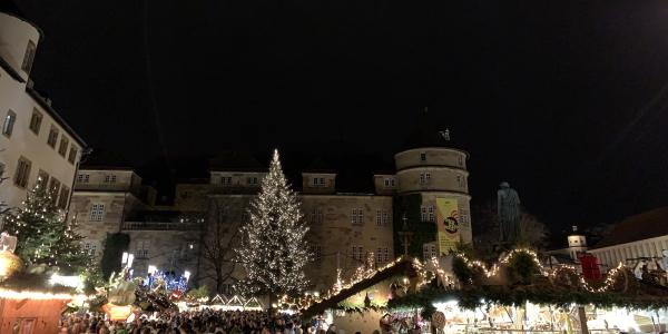 Weihnachtsbaum auf dem Stuttgarter Weihnachtsmarkt